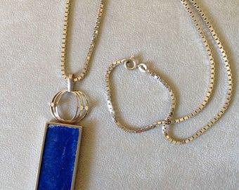 Exquisite Vintage Cobalt Blue Lapis Lazuli 18K White Gold Diamond Necklace Ultramarine 1960's