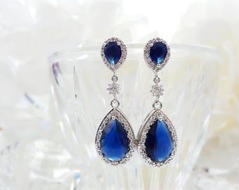 Sapphire Blue Earrings, CZ Drop Earrings, Sapphire Earrings, September Birthstone, Dark Blue Wedding Jewelry, Maid of Honor Gift, Prom E2034