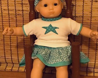 Fits American Girl Bitty Baby Doll, 15 inch doll, Blue Skirt and Jersey Set