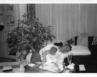 Vintage Photo..Pillow for Christmas, 1950's Original Found Photo, Vernacular Photography