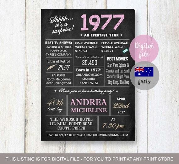 Surprise 40th Birthday Invitations Chalkboard 40th Birthday