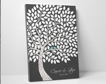 Custom Wedding Guest Book // Unique Wedding Guestbook // Wedding Tree Guestbook // Canvas or Print // 55-150 Guests