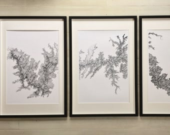 Topographic Map, Grand Canyon Map, Framed Triptych, topographical map art, Oversized Wall Art, Grand Canyon Art, Gift for him, Fathers day