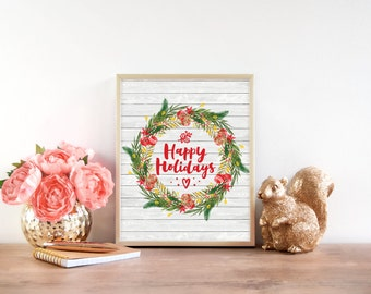 Happy Holidays - Christmas Print - Christmas Decor - Holiday Decor - Christmas Wreath - Christmas art - Winter Wreath - Holiday Art