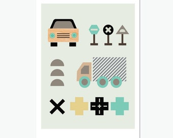 Little Car Modern Art print. Boys room art, modern kids wall art, nursery art, kids room art.