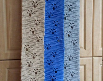Handmade Crochet Paw Prints Scarf / Dog Lover / Cat Lover / Wolf Lover / Love Your Pet