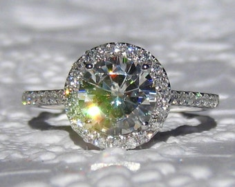 Forever One Moissanite Engagement Ring - Any Shape, White Gold Diamond Halo Engagement Ring, Round, Cushion, Oval, Emerald, Asscher, Pear