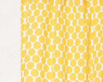 Yellow polka curtain Panel, cotton voile, printed curtain, Sheer Drape, sizes available