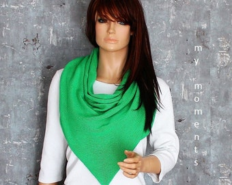 TRIANGLE SCARF Cotton green