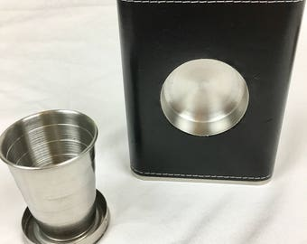 Leather Wrapped Flask with Hidden Telescoping Shot Glass