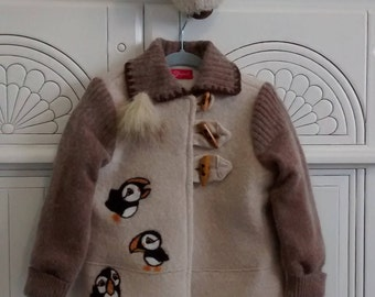 Wool Cardigan with Matching Tuque Set   ONE-OF-A-KIND  Size 3 Toddler