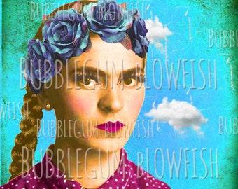 Frida Kahlo Blue Static Clouds Digital art Download