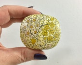 Vintage Floral Trinket Box, Hand Painted Mustard Yellow Flowers, Black Branches, Green Leaves, Small Paper Mache Jewelry Gift Box from India