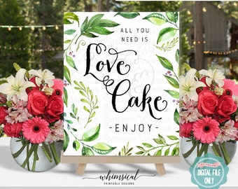 """Love and Cake Sign """"Windblown"""" (Printable File Only) Wedding Sign, Cake Table Sign, Love Is Sweet, Wedding Cake Table, All You Need Is Love"""
