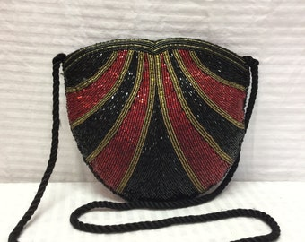 Art Deco Beaded Purse, Bag, Shoulder Bag, Black, Red, Formal