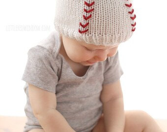 Baseball Baby Hat KNITTING PATTERN - Sports knit hat pattern for babies, infants - sizes 0-3 m, 6 m, 12 months, 2T+, Baseball uniform