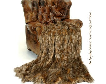 Plush Faux Fur Throw Blanket / Comforter / Luxury Brown Feather Fur / Premium / Select the Size You Want / New