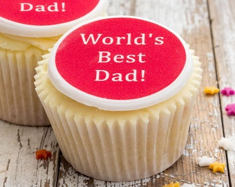 Father's Day Cupcake Toppers - personalised edible sugar cupcake decorations (pack of 12)