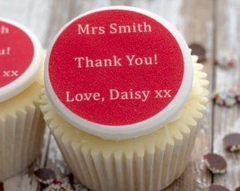 Best Teacher Cupcake Toppers - personalised edible sugar cupcake decorations (pack of 12)