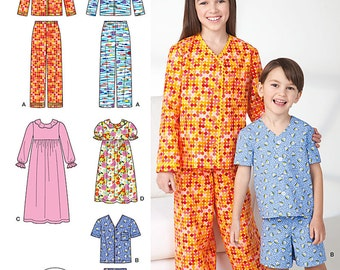 Simplicity 1575 Boys and Girls Lounge-Wear Pants, Shorts, Shirt, Gown. Size 7-14. Pattern is new and uncut.