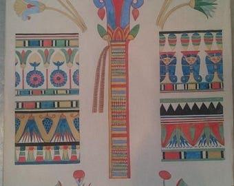 Vintage Art Deco Egyptian Revival Original Watercolor Art Painting 1920's