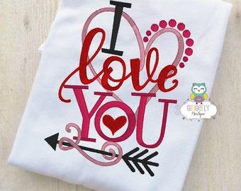 I Love You Heart Shirt or Bodysuit, Girl Valentine Shirt, Valentines Day Shirt, Valentines Day Outfit, Girls Heart Shirt