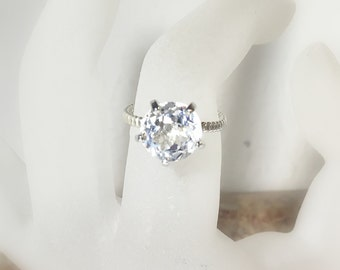 White Topaz 14K Gold, prong, Rope Band, Made to Order
