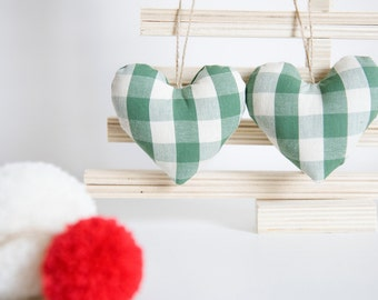 White and Green Christmas Hearts - Checked Fabric Hearts - Christmas Tree Ornaments - Holiday Ornaments -  White and Green Checked Hearts