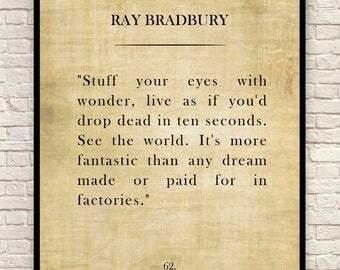 Ray Bradbury Art Print, Ray Bradbury Quote, Custom Art Print, Book Page Art Print, Wall Art, Christmas Gift, Gift for Book Lovers