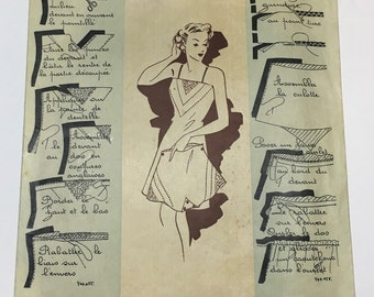"""Vintage French Sewing Pattern, """"Patrons Modèles"""" No. 055, 1920s-1930s, Chemise and Tap Pants, Size 44 (38-29.5-40.5 inches, 96-75-103cm)"""