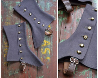 Vintage Spats, Ladies Edwardian - 1920's Grey felted wool spats, six button fastening shoe covers / ankle gaiters, Steampunk / historical