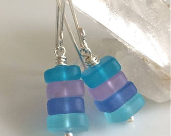 Multi Color Sea Glass Earrings / Blue and Lavender Earrings / Cultured Sea Glass / Beach Glass / Sterling Silver Earrings