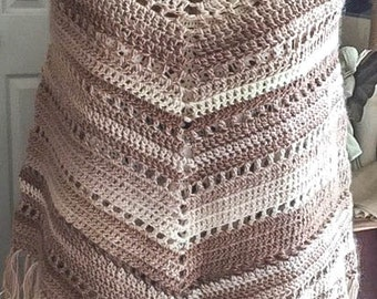 Boho Poncho, Crochet Poncho, Cappuccino, Adult Small/Medium