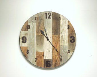"36 inch ""Virginia"" Reclaimed Wood Large Rustic Wall Clock * Oversized Wall Clocks * Giant Wooden Wall Clock * Big * Huge Barnwood Clock"