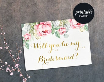 Will you be my bridesmaid; Maid of honor Card, Matron of honor, Flower Girl Printable Bridesmaid Proposal, Boho Pink Floral Bridesmaid Card