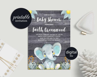 Printable Baby Shower Invitation, Elephant Baby Shower Invitation Blue Boy Baby Shower Invitation, Safari Jungle Baby Shower Invitation