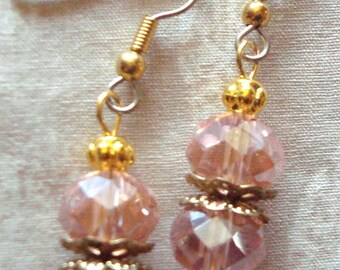Pink faceted dangle earrings, Gold , hypo allergenic