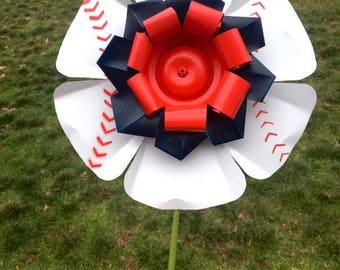 Baseball, Softball Aluminum Flower Stake, recycled metal, yard art, school, team, sports