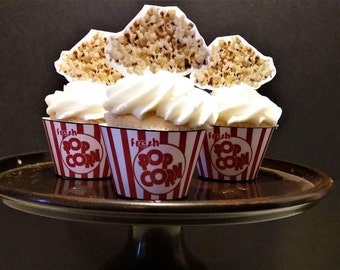 Printable Popcorn Cupcake wrapper & topper