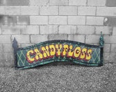 Carnival Candy Floss Fairground Sign Wall Art Vintage Sign Written Paint
