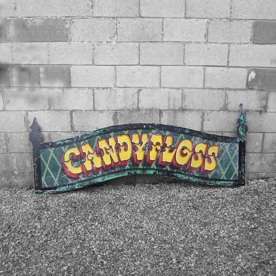 Carnival Candy Floss Fairground Sign Wall Art Vintage Sign Written Paint