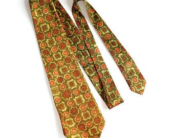 60s/70s Floral Tie, Mod Print Acetate Vegan Necktie,Avocado Green, Yellow & Orange Fabric, His or Hers Hipster Flower Power Hippie Accessory