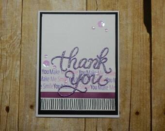 Thank You Greeting Card / Handmade / Blank Inside Greeting Card / Stamped Greeting Card