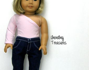 18 inch doll clothes AG doll clothes made to fit like american girl doll clothes pink one shoulder top and jeans