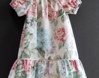 Size 12-18 mths Upcycled Pillowcase Dress, Toddler Dress, Puff Sleeves, Baby Dress, Baby Shower Gift, Floral Baby Dress, Toddler Nightgown