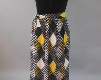 Sleeveless Cubes & Dots Dress, M, Vintage 1960's