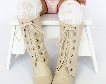 Cream Knee High Combat Boots