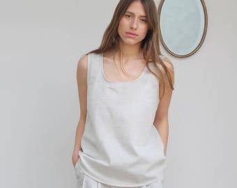 Light grey sleeveless top,sleeveless blouse,loose tank top,party top,summer tops,summer clothes women,modern minimalist,summer tank tops