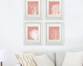 Set 4 Coral Prints Light Coral, Nautical print Poster Drawing Digital Print Wall Art Wall Décor Wall Hanging beach house bathroom poster