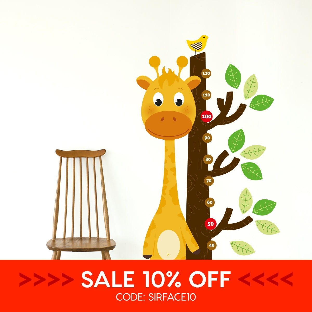Sale giraffe growth chart wall decal sticker set height zoom nvjuhfo Choice Image